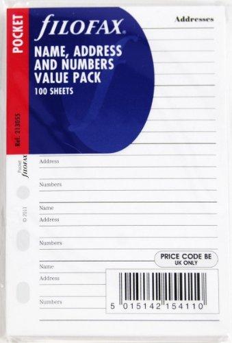 Filofax 213055 Pocket Kontakte Adressbuch, Englisch