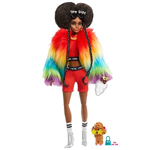 Barbie Extra Bambola Afroamericana con Cucciolo, Vestiti alla Moda e 10 Accessori, Giocattolo per Bambini 3+ Anni, GVR04