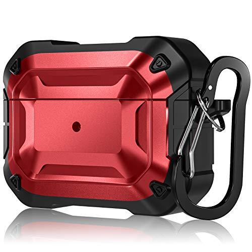 CeMiKa Rugged Armor Hülle Kompatibel mit Airpods Pro Hülle, Ganzkörper Hartschalen Schutzhülle Kompatibel mit AirPod Pro 2019, Front LED Sichtbar, Rot/Schwarz