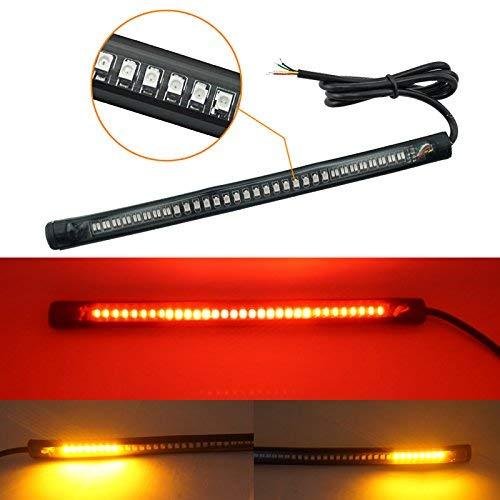 HANEU Tira de luz LED Universal para Motocicleta Freno Trasero, Freno, Intermitente, 48 ledes, Flexible para Motocicletas