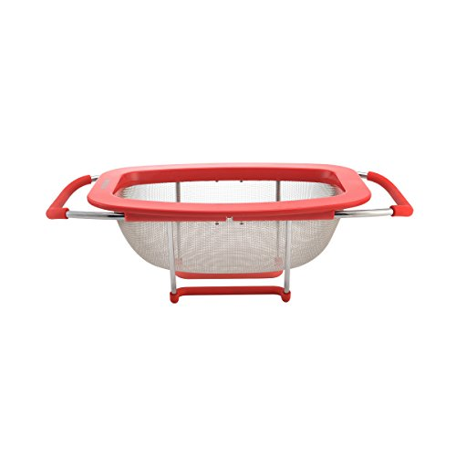 Farberware Professional Stainless Steel Expandable Over-the-Sink Colander/Strainer, Red