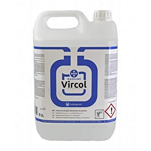 VIRCOL Desinfectante virucida de superficies y textiles 70 % Alcohol 5L certificado por sanidad de acción rápida + botella pulverizadora de 1L