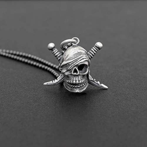 Collar de plata esterlin cráneo pirata.