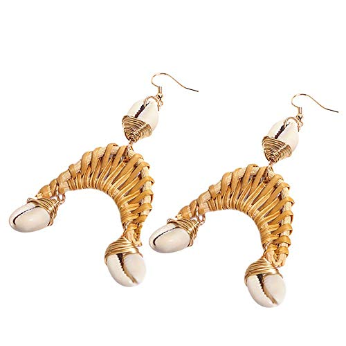 Vektenxi Frauen Shell Rattan Kaffee Farbe Ohrring natürliche charmante Persönlichkeit handgefertigte Mode Trend bogenförmige Ohrringe langlebig und praktisch
