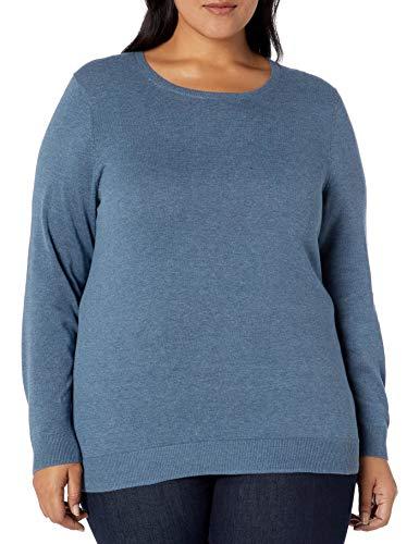 Amazon Essentials Plus Size Lightweight Crewneck Sweater cardigan-sweaters, Blue Heather, 1X