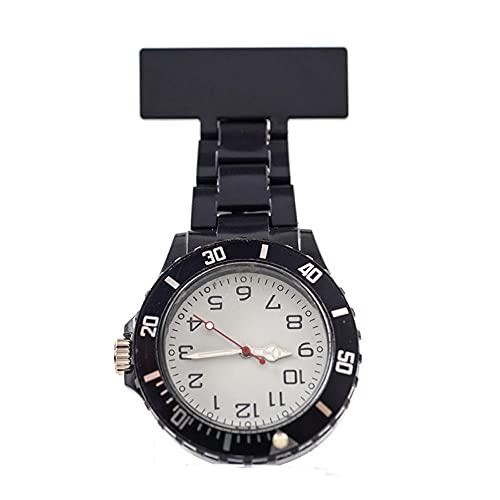 YYMY Regalos para Enfermeras Reloj Bolsillo,Reloj de Bolsillo para Enfermera con Puntero de luz Nocturna, Pecho de médico Neutro Grande, Negro