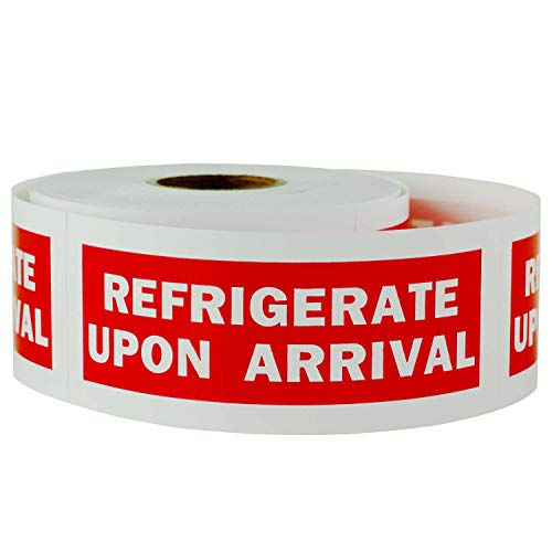 """TUCO DEALS - 1200 Labels 1.25"""" x 4"""" REFRIGERATE Upon Arrival Self Adhesive Warning Shipping Mailing Labels / Stickers (Red - 4 Rolls)"""