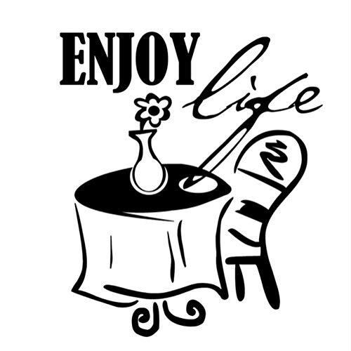 Zfkdsd Genießen Leben Ein Tisch Stuhl Und Blume Wandaufkleber Küche Dekoration Diy Abnehmbare Wasserdichte Startseite Wandtattoo 57 * 66 Cm