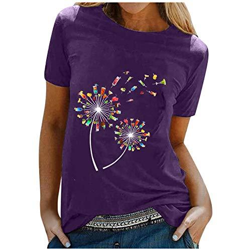 T-Shirt Damen mit O-Ausschnitt T-Shirt...