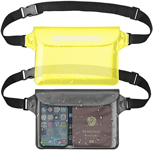 Mandwot 2-Pack Waterproof Pouch Fanny Pack,Waterproof Phone Case Screen Touch Sensitive Dry Bag with Adjustable Strap-Keep Phone&Valuables Dry for Swimming Diving Boating Fishing Beach