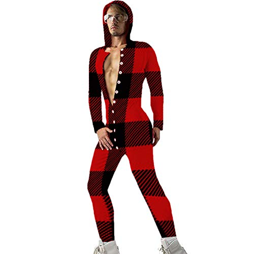 Jumpsuit Herren Einteiler Pyjama für Erwachsene Langarm Schlafanzug Overall Mit Kapuze Sexy Hintern Buttoned Flap Strampler Nachtwäsche Trainingsanzug Hausanzug