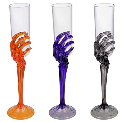 Halloween Skeleton Hand Plastic Goblets Champagne Flutes Stemless Cups Perfect For Creepy Spooky Halloween Decorations And Haunted House Choose Set Of 3 Each Champagne Flutes Set Of 3