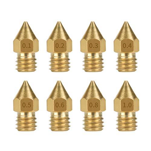 5pcs 3D Drucker Düse Extruder Druckkopf MK8 für 1,75-3mm Filament 0,2-1mm Leimdüse 0.4MM Nozzle Extruder für Ender Makerbot Creality CR-10/15 Typ Auswahl (1.75mm/0.3mm)
