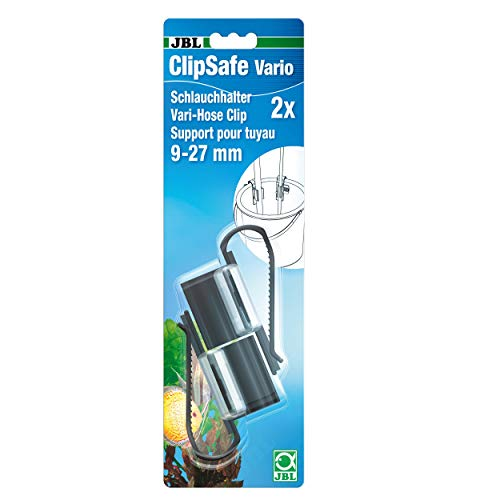 JBL ClipSafe Vario 6109500, Halte-Clips für Aquarienschläuche von 9 - 27 mm, Verstellbar, 2 Stück