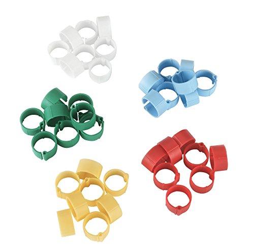 Anillas de plástico 16 mm, diversos colores, 5 x 20 uds. en blíster