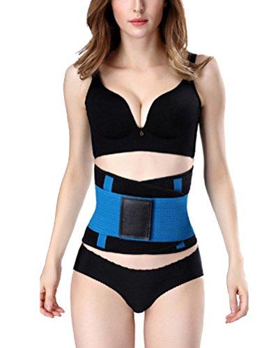 Cintura Trimmer Cinturón Soporte Trasero Ajustable Cintura Elástica Abdominal Entrenador Reloj de Arena Body Shaper Cinturón de Faja Azul L