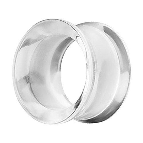 Piercingfaktor Flesh Tunnel Kunststoff Double Flared Rund Ring Kreis Creole Ohr Plug Ear Piercing Farbig 16mm Clear