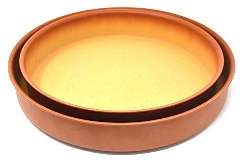 Amercook Set 2 Cazuelas de Horno (28cm y 32 cm) de aluminio forjado y acabado de polvo de piedra. Apto para horno y todo tipo de cocinas, incluida inducción. Sin PFOA