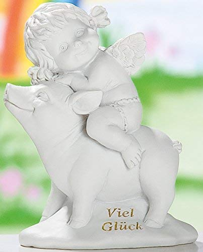 GILDE Figura decorativa de ángel Lucy sentado sobre un cerdo, color blanco antiguo, 12 cm