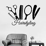 Peinado tatuajes de pared estilista herramientas de barbero puerta y ventana pegatinas de grietas salón de peluquería barbería decoración de interiores mural