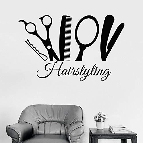 Peinado calcomanías de pared estilista herramientas de peluquería puerta y ventana pegatinas de vinilo peluquería salón de belleza decoración de interiores mural