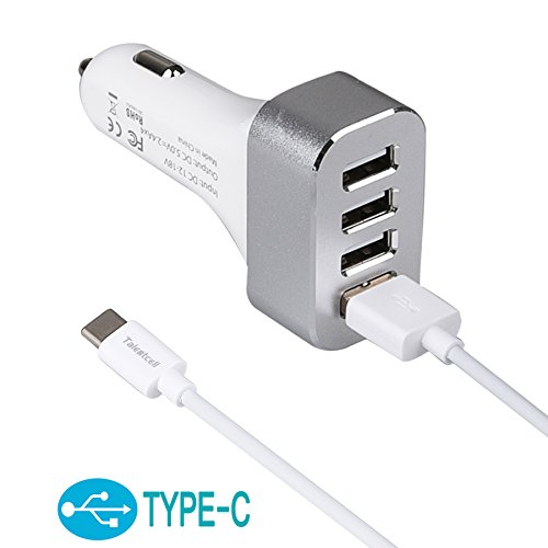TalentCell 4 Port Intelligent USB Car Charger 9.6A/48W Adaptive Fast Charger With USB 3.1 Type C Cable For Apple New Macbook 12 Inch with Retina Display A1534 (2015 NEWEST VERSION), Nokia N1, Chromebook Pixel 2 C1501W, And Other Type-C Supported Devices, Apple iWatch, Apple iPhone 4 4s 5 5s 5c 6/6Plus, Samsung Galaxy S3 S4 S5 S6 Edge, Samsung Galaxy Note 2 3 4, Apple iPad 1 2 3 4 5 6 Air Mini and Many Other Cell Phone, Tablet, GPS and MP3 Models, And Any Other USB-Powered Devices, White