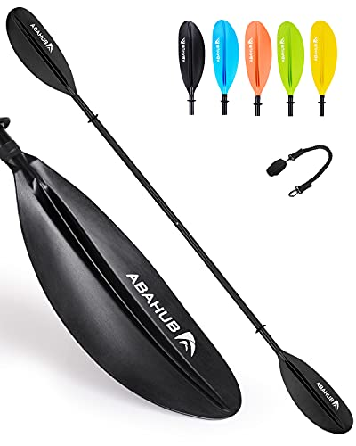 Abahub 1x Kayak Paddles with Free Paddle Leash, Aluminum Alloy Shaft Black Plastic Blades, 90.5 Inches Kayaking Oars for Boating, Canoeing
