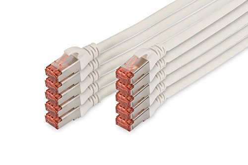 DIGITUS - 10 Stück - Patch-Kabel Cat-6 - 0.5m - S-FTP Schirmung - Kupfer-Adern - LSZH Mantel - Netzwerk-Kabel - Weiß
