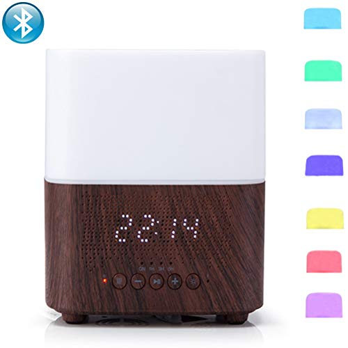 Fyng 300ml Aromatherapy Essential Oil Diffuser Humidifier With Bluetooth Speaker, Led Night Light, Alarm Clock (D-Brown)