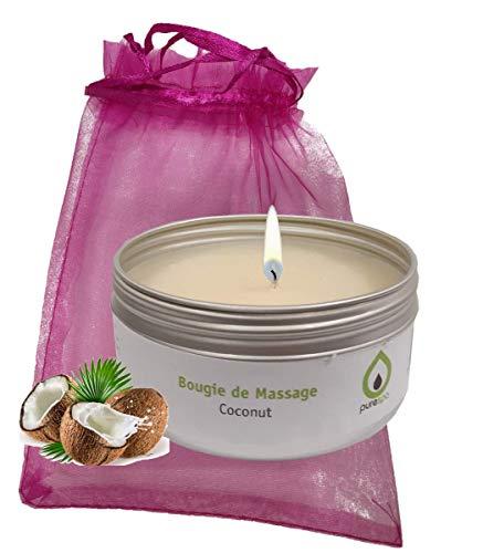 Purenail Candela da massaggio al cocco, 100% vegetale, senza parabeni, lunga durata