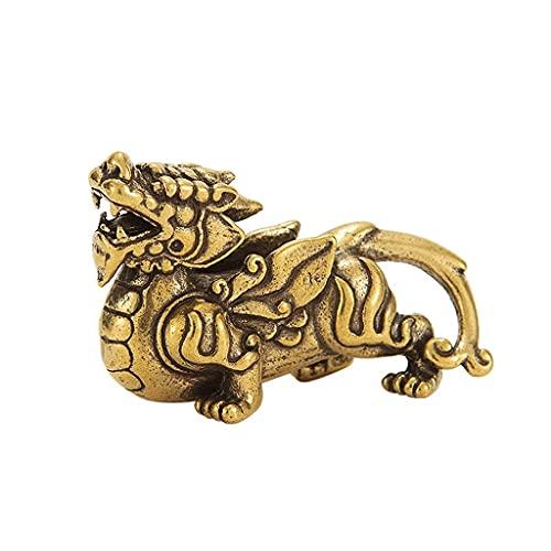 Czysta miedź chiński bóg bestia Pixiu ozdoby na biurko, zabytkowa mosiężna pomyślna rzeźba, miniatury figurki wystrój Feng Shui