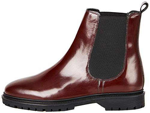 FIND Chunky Sole Leather Stivali Chelsea, Rosso (Red), 40 EU