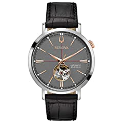 From the Classic Automatic Collection. Stainless steel case with rose gold-tone crown at two o'clock position, open aperture gray dial with rose gold-tone hands and markers, exhibition case back, automatic heart-beat self-winding movement with 40-hou...