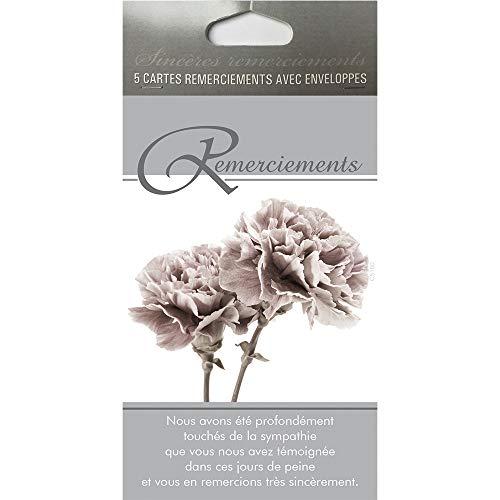 Afie Pochette de 5 Cartes Remerciements Condoléances fleurs oeuillets gris Décès Deuil Fabriqué en France