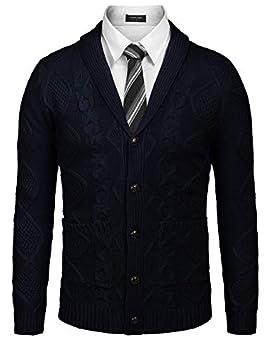 COOFANDY Men s Casual Knitted Merino Wool Aran Sweater Shawl Collar Button Down Cardigan Sweater,Navy Blue,Small