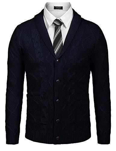 COOFANDY Men's Casual Knitted Merino Wool Aran Sweater Shawl Collar Button Down Cardigan Sweater,Navy Blue,X-Large