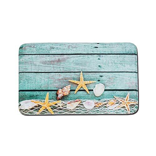 Yardwe Non Slip Floor Mat Front Door Rug Entrance Door Mat Nautical Sea Star Welcome Mat for Bathroom Kitchen Living Room
