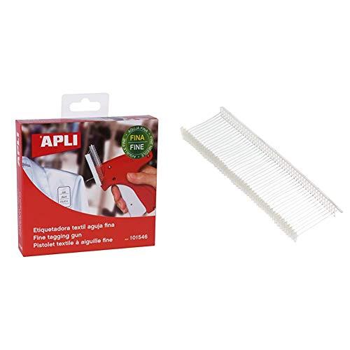 APLI 101546 - Etiquetadora textil con aguja fina + 101573 - Pack De 5000 Pasadores De Plastico Finos Para Etiquetadora Textil, 50 Mm