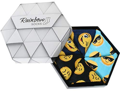 Rainbow Socks - Damen Herren Lustige Socken Box - 3 Paar - Türkis Dunkelblau Schwarz - Größen 41-46