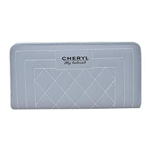 Cheryl Women's Synthetic Stylish Zipper Wallet (Blue, Medium)