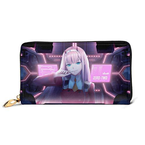 Vocaloid Hatsune Miku Cartera de cuero con cremallera de moda bolsa de muñeca Multi-tarjeta de crédito para teléfono móvil bolsa de almacenamiento de monedas para hombres y mujeres