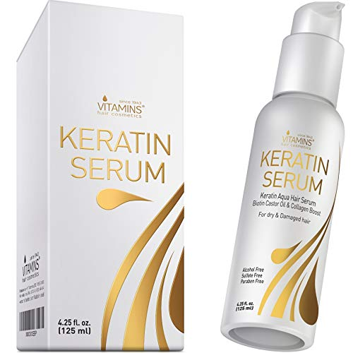Vitamins Keratin Protein Hair Serum - Biotin and Collagen Anti Frizz Treatment with Castor Oil...