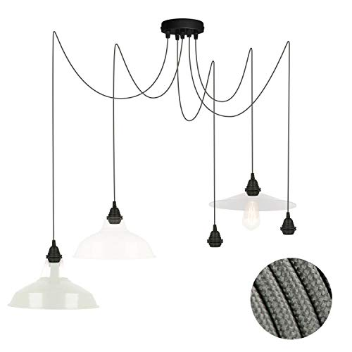 Pendelleuchte für Lampenschirm 5 fach Deckenlampe grau FL03 5x4 Meter