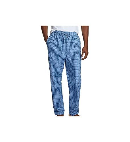 Nautica Men's Soft Woven 100% Cotton Elastic Waistband Sleep Pajama Pant, French Blue, Large
