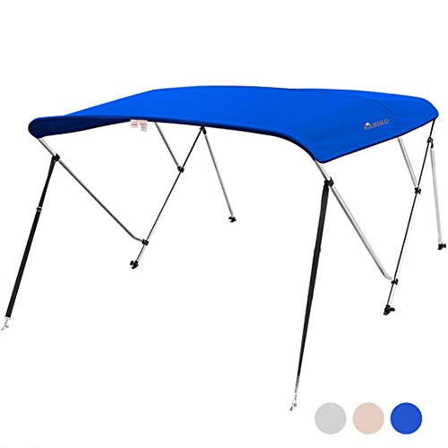 """KING BIRD 3 Bow Bimini Boat Top Cover Sun Shade Boat Canopy Waterproof 1 Inch Stainless Aluminum Frame 46"""" Height with Rear Support Poles and Storage Boot 3 Colors -5 Sizes (Royal Blue, 73""""-78"""")"""