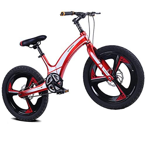 Bicicleta para Niños De 16, 18 Y 20 Pulgadas. Bicicleta De Montaña Integrada De Aleación De Magnesio, Velocidad Única, Rojo,18 Inch
