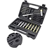 WHLLING 21 Pcs Gunsmith Punch Set with Bench Block, Roll Pin Punch Set Including Steel Punch with Hammer Ideal for M1911 and Other Pistols for Gunsmithing Maintenance