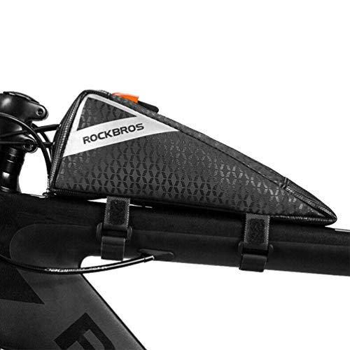 ROCKBROS Bolsa Triangular Cuadro Tubo Superior de Bicicleta de Carretera MTB Triatlón Capacidad 0,5L Negro