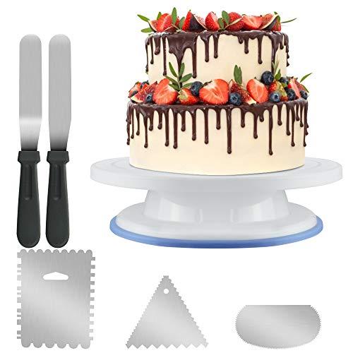KBNIAN Set di piatti per torte girevoli, giradischi per cake, 3 raschietti in acciaio inox, 1 frullatore e 2 raschietti per la glassa, per decorare e decorare torte