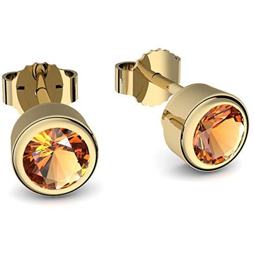 Ohrstecker Gold Citrin (**Echte Citrine**) Ohrringe Citrin Gold - inkl. Luxusetui - Goldohrstecker Ohrschmuck Goldohrringe Ohrstecker gelber Stein Ohrringe gelb Gelbgold FF47 VGGGCIFA